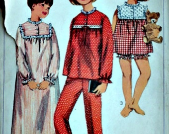 Vintage 60's Simplicity 6815 Sewing Pattern, Girl's Nightgown and Pajamas, Size 4, 23 Breast