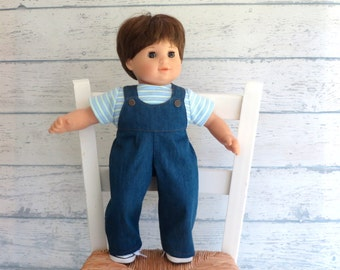 Boy Doll Clothes Denim Overalls and Striped Shirt, fits American Girl Bitty Twin, Bitty Baby Clothes