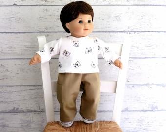 Boy Doll Clothes Bulldog Puppy Tee Shirt and Cargo Pants, 15 inch Doll clothes, Babydoll Boy Clothes