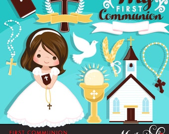 First Communion Clipart for Girls. Cute Communion characters, graphics, bible, church, rosary, communion banner. First Communion Graphics