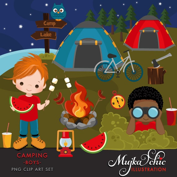 Camping Clipart For Boys Campground Tents Camp Fire Lantern
