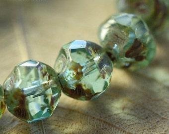AQUA CRYSTAL .. 10 Picasso Czech Glass Baroque Beads 8mm (31-10)