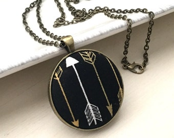 Handmade Fabric Pendant Necklace-Southwestern Native American Style-Arrow and Theme- Perfect Gift or Add to Your Existing Collection.