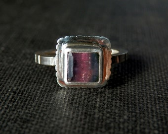 Tourmaline ring / watermelon tourmaline jewelry / October birthstone / bicolor tourmaline jewelry / pink and green tourmaline ring / size 5