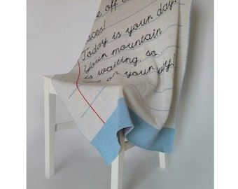 Personalised School Book Message Knitted Blanket
