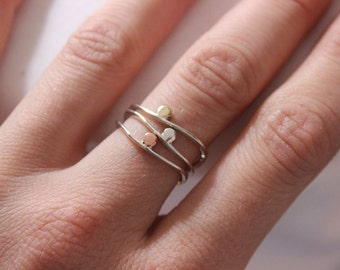 Sterling silver stacking rings Set of 3, Elegant casual, eternity rings, stackers, thin ring, Sterling silver and copper