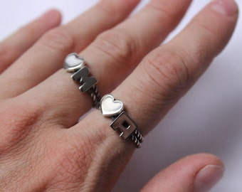 Stackable Initials Rings with twisted band, sterling silver, great for stacking,  Made to order, Custom Ring , Choose  two letters