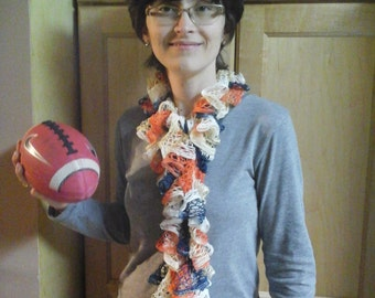 Denver Bronco fanwear ruffled scarf fashion accessorycrochet boa