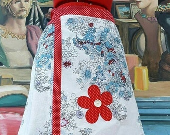 Womens Fully Lined Blue Red and White Wrap Skirt with Polka Dot Flower and Button