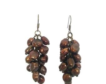 Bronze Beauty - Brown Earrings - Bronze Freshwater Pearl Cluster Dangle Earrings - Mishimon Designs