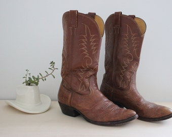 Vintage Nocona Boots with Biltrite Neoprene soles / Brown Leather Cowboy Boots / Mens Size 9.5 D / 1970s