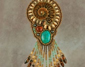 Bead Embroidered Necklace, Ammonite with Turquoise and Amber, fossil, turquoise, one-of-a-kind, handmade