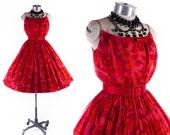 Vintage 50s Dress // 1950s Dress // Mr Mort Dress // Red 50s Dress // Chiffon Dress // Red Roses Dress - sz XS - 24 Waist