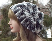 Black Gray White Crochet Hat, Womens Slouchy Beanie, Oversized Slouch Beanie, Chunky Hat, Slouchy Hat, Winter Hat, Slouch Hat