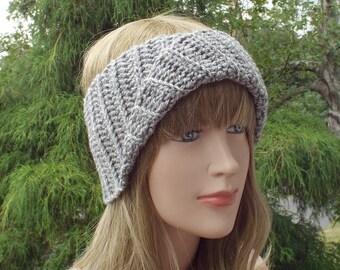 Gray Yoga Headband, Womens Head Wrap, Athletic Hair Band, Crochet Head Band, Workout Headband, Turban Head Wrap, Boho Headband