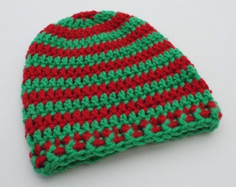 Newborn Crochet Hat, Red and Green Beanie, Christmas Baby Hat, Infant Photo Prop, Coming Home Hat, Baby Boy Hat, Baby Gift, Baby Girl Hat