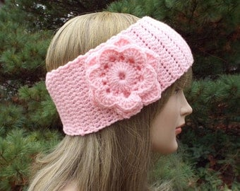 Pink Ear Warmer, Crochet Headband with Flower, Head Wrap, Womens Ski Band, Winter Headband, Gift for Her