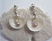 Pink pearls, sea shells, earrings, sterling silver post, beach, wedding, cruise, jewelry, handmade, June birthstone, free domestic shipping.