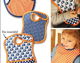 Tiny Tots Reversible Bib PDF sewing epattern - easy to make bib & smock for babies and toddlers