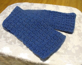 Handmade Crochet scarf denim in color nice and soft  6 x 68 inches