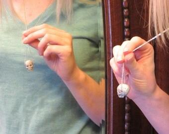 Raku Ceramic Skull Necklace