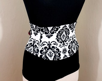 Black and White Damask Cotton Corset Waist Cincher Belt Custom Sized