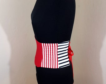Black Red and White Striped Graphic Corset Waist Cincher Belt - Any Size Underbust Sash Obi