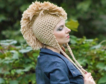 Tan Mohawk  Ear Flap Hat Unique Handmade Gift For Men or Women Boys or Girls