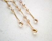 Tiny Bubbles Necklace - champagne citrine dangle necklace, elegant tassel necklace, one of a kind tassel necklace, november birthstone