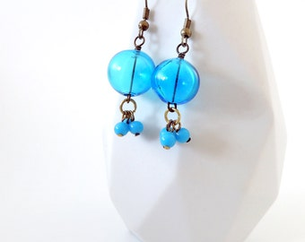 Blue Glass Bauble Earrings -- Bright Beaded Drops -- Brass Hook Earrings -- UK Shop