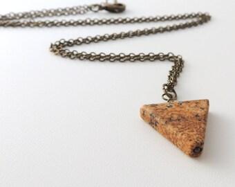 Jasper Triangle Necklace -- Geometric Gemstone Pendant -- Brass Chain -- UK Shop