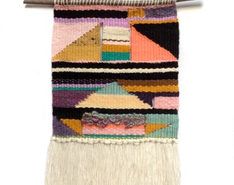 Triangle Sunrise Tapestry Weaving | Boho Woven Wall Hanging | Modern Tapestry Home Decor | Weaving Loom Fiber Art | Colorful Tapestry Weave