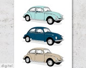 Printable VW Beetle Bug Classic Volkswagen Käfer 60s 70s Cult Car Boys Room Nursery Wall Art Robin Egg Blue Beach Vintage Car Print Download