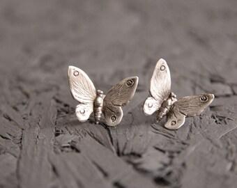Butterfly earrings -Sterling Silver butterfly studs -Insect earrings -Butterfly Wing earrings -Animal jewelry-gift for mom-
