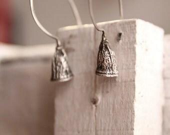 Botanical earrings-Eucalyptus hoop earrings -Sterling silver eucalyptus bell hoops-Nature cast jewelry-Woodland  jewelry - Seed Earrings