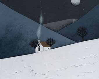 The Quiet of the Night 15 - Archival 8x8 Print - Winter Landscape Painting - Wall Art - by Natasha Newton