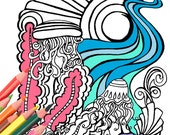 Under Water Jellyfish Coloring Book Page - Digital Download from A Colorful World - Surf & Sun by Alexine and Lori Goldwag  Original Designs