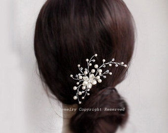 Wedding Hair Accessories, Bridal Hair Comb, Ivory Swarovski Pearl Hair Comb, H0001,Swarovski Bridal Hair Combs, Bridal Hair Vine
