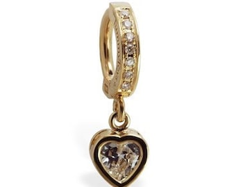 Solid 14k Yellow Gold Diamond Belly Ring Clasp with Cz Heart Charm Exclusively by TummyToys (38030)