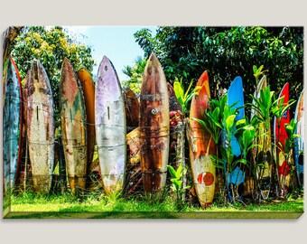 Surfer Large Canvas Art, Surfboard Fence, Landmark, Maui, Hawaii, Photography, 1 Panel, Surfboard, Surfer, Ocean, Coastal, Sea, Vibrant