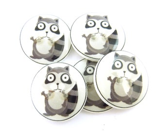 "5 Handmade Raccoon Buttons.  3/4"" or 20 mm Sewing Buttons.  Novelty Buttons.  Woodland animal buttons for sewing."