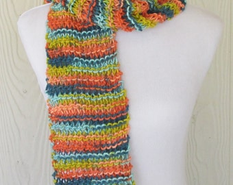 Long Chunky Knit Scarf, Striped Hand Knit Scarf, Women's Fashion, Knitted Scarf for Women, Winter Accessories, Ready to Ship, Eclectasie