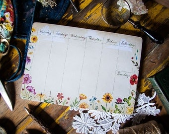 Desktop Notepad - Wildflowers | Stationery | List | Katie Daisy | Notepad