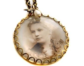 Personalized Custom Brass Photo Necklace