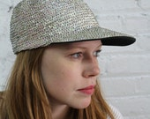 white sequin hat / sparkly baseball cap / 80's oil slick sequin cap