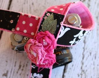 Damask Camera Strap. dSLR Camera Strap. Black and Pink Camera Strap dSLR. Camera Strap. Cute Camera Strap. Camera Neck Strap.