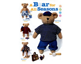 """Felt Bear Doll and Cothes Pattern 16"""" Teddy Bear Doll with Wardrobe Jacket Hat Sweater Shirt Pants Scarf and Kit Bag Sewing Pattern"""