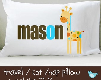 Personalized boy mod giraffe travel or toddler pillow insert and pillowcase