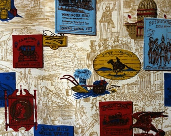 Vintage Americana Fabric, Six Yards Patriotic 1950s/60s Fabric in Cream, Red, Blue, Gold, Brown with Old West, Wagon Train, Pony Express Art