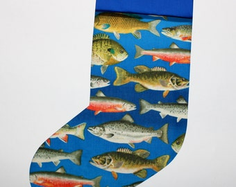 Fisherman, Fishes Handmade Christmas Stocking, ships NEXT DAY, Lined, Mens Christmas